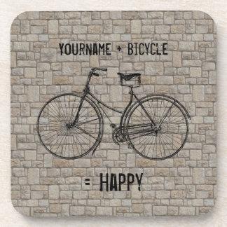 You Plus Bicycle Equals Happy Antique Bricks Gray Coasters