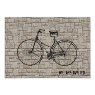 "You Plus Bicycle Equals Happy Antique Bricks Gray 5"" X 7"" Invitation Card"