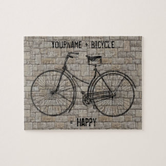 You Plus Bicycle Equals Happy Antique Bricks Gray Jigsaw Puzzle
