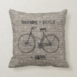 You Plus Bicycle Equals Happy Antique Bricks Gray Throw Pillow