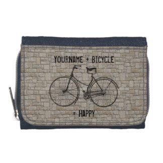 You Plus Bicycle Equals Happy Antique Bricks Gray Wallet