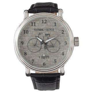You Plus Bicycle Equals Happy Antique Bricks Gray Watch