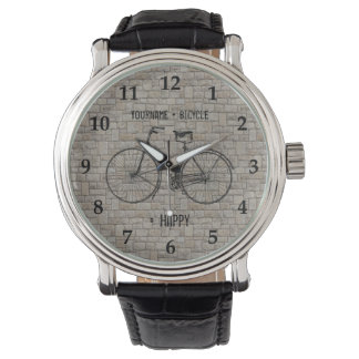 You Plus Bicycle Equals Happy Antique Bricks Gray Wristwatches