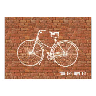 "You Plus Bicycle Equals Happy Antique Red Bricks 5"" X 7"" Invitation Card"