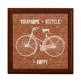 You Plus Bicycle Equals Happy Antique Red Bricks Keepsake Box