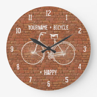 You Plus Bicycle Equals Happy Antique Red Bricks Large Clock