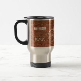 You Plus Bicycle Equals Happy Antique Red Bricks 15 Oz Stainless Steel Travel Mug