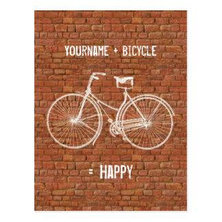You Plus Bicycle Equals Happy Antique Red Bricks Postcard