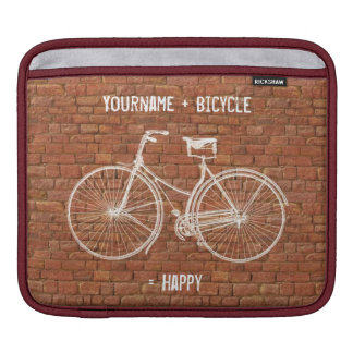 You Plus Bicycle Equals Happy Antique Red Bricks Sleeve For iPads