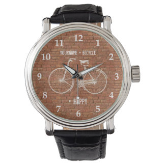 You Plus Bicycle Equals Happy Antique Red Bricks Watch