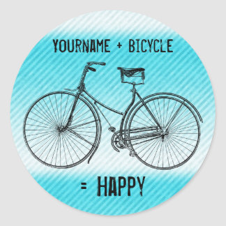 You Plus Bicycle Equals Happy Antique Stripes Aqua Classic Round Sticker