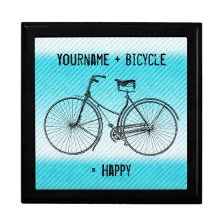 You Plus Bicycle Equals Happy Antique Stripes Aqua Gift Box