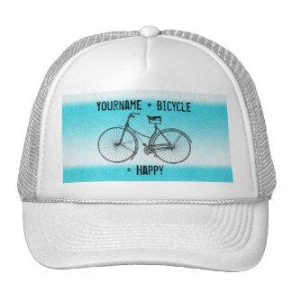 You Plus Bicycle Equals Happy Antique Stripes Aqua Trucker Hat