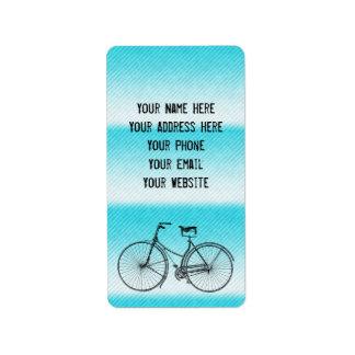 You Plus Bicycle Equals Happy Antique Stripes Aqua Label