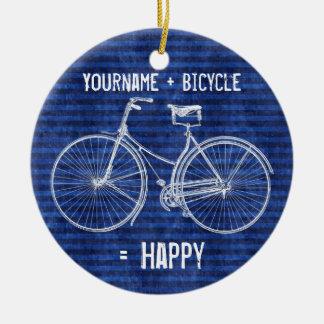 You Plus Bicycle Equals Happy Antique Stripes Blue Ceramic Ornament