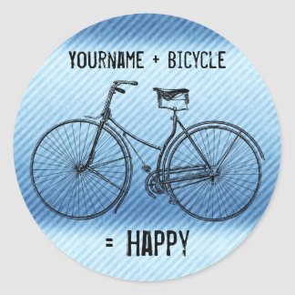 You Plus Bicycle Equals Happy Antique Stripes Blue Classic Round Sticker