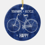 You Plus Bicycle Equals Happy Antique Stripes Blue Double-Sided Ceramic Round Christmas Ornament