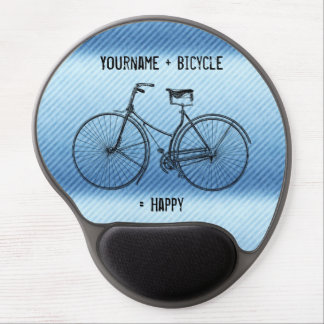 You Plus Bicycle Equals Happy Antique Stripes Blue Gel Mouse Pad