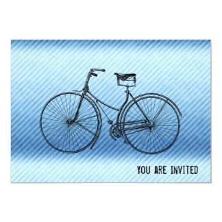 "You Plus Bicycle Equals Happy Antique Stripes Blue 5"" X 7"" Invitation Card"