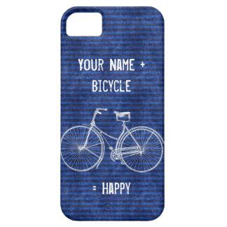 You Plus Bicycle Equals Happy Antique Stripes Blue iPhone SE/5/5s Case