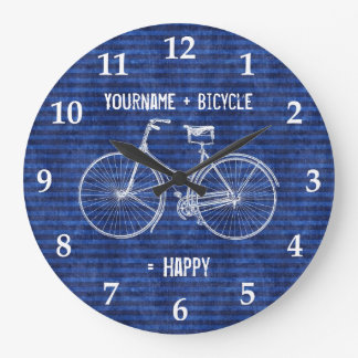 You Plus Bicycle Equals Happy Antique Stripes Blue Large Clock