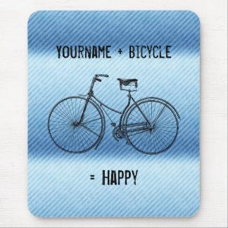 You Plus Bicycle Equals Happy Antique Stripes Blue Mouse Pad