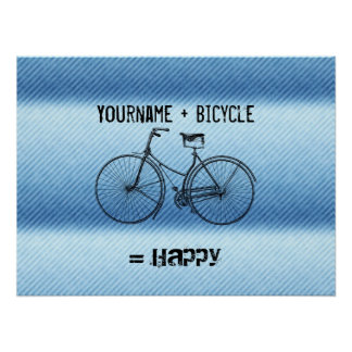 You Plus Bicycle Equals Happy Antique Stripes Blue Poster