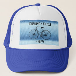 You Plus Bicycle Equals Happy Antique Stripes Blue Trucker Hat