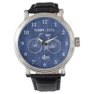 You Plus Bicycle Equals Happy Antique Stripes Blue Wrist Watch