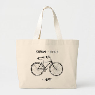 You Plus Bicycle Equals Happy Antique Wheels Bike Large Tote Bag