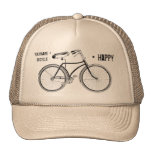 You Plus Bicycle Equals Happy Antique Wheels Bike Trucker Hat