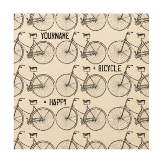 You Plus Bicycle Equals Happy Antique Wheels Bike Wood Wall Art