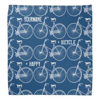 You Plus Bicycle Equals Happy Antique White Bike Bandana