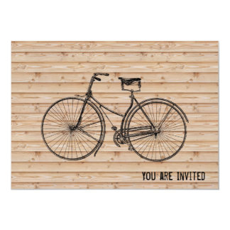 "You Plus Bicycle Equals Happy Antique Wood Beige 5"" X 7"" Invitation Card"
