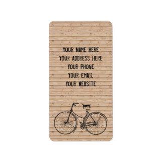 You Plus Bicycle Equals Happy Antique Wood Beige Label