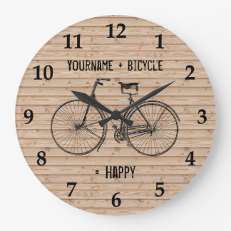 You Plus Bicycle Equals Happy Antique Wood Beige Large Clock