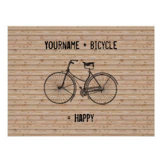 You Plus Bicycle Equals Happy Antique Wood Beige Poster