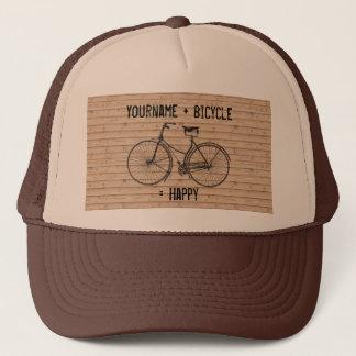 You Plus Bicycle Equals Happy Antique Wood Beige Trucker Hat