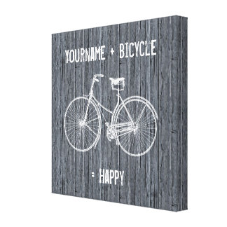 You Plus Bicycle Equals Happy Antique Wood Grey Canvas Print