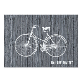 "You Plus Bicycle Equals Happy Antique Wood Grey 5"" X 7"" Invitation Card"