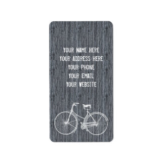 You Plus Bicycle Equals Happy Antique Wood Grey Label