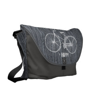 You Plus Bicycle Equals Happy Antique Wood Grey Messenger Bags