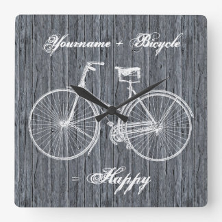 You Plus Bicycle Equals Happy Antique Wood Grey Square Wall Clock