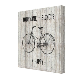 You Plus Bicycle Equals Happy Antique Wooden Plank Canvas Print