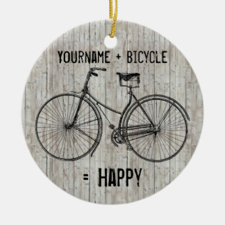 You Plus Bicycle Equals Happy Antique Wooden Plank Ceramic Ornament