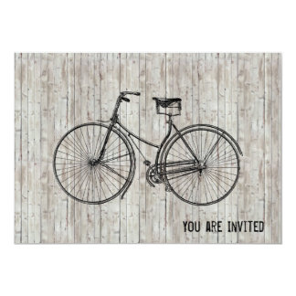 "You Plus Bicycle Equals Happy Antique Wooden Plank 5"" X 7"" Invitation Card"