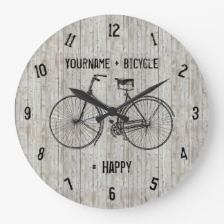 You Plus Bicycle Equals Happy Antique Wooden Plank Large Clock
