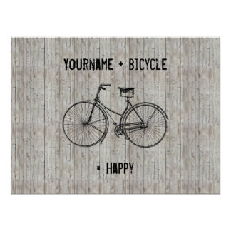 You Plus Bicycle Equals Happy Antique Wooden Plank Poster