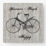 You Plus Bicycle Equals Happy Antique Wooden Plank Square Wall Clock