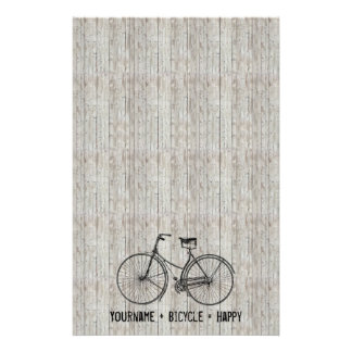You Plus Bicycle Equals Happy Antique Wooden Plank Personalized Stationery